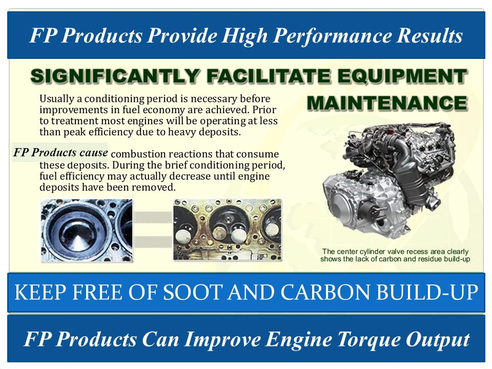 FP Products Can Improve Engine Torque Output FP Products cause FP Products Provide High Performance Results KEEP FREE OF SOOT AND CARBON BUILD-UP
