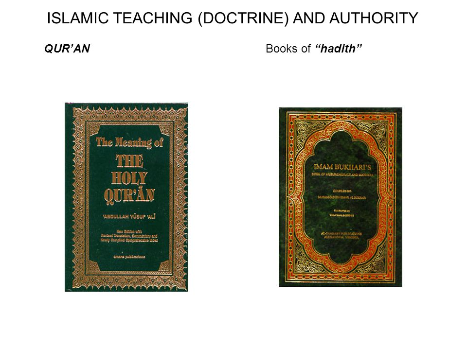 QUR'ANBooks of hadith ISLAMIC TEACHING (DOCTRINE) AND AUTHORITY