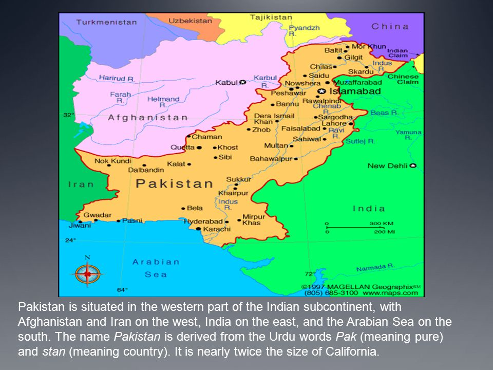 Strategically it is located in a position between the important regions of South Asia, Central Asia and the Middle East.South AsiaCentral AsiaMiddle East Pakistan is a federal parliamentary republic consisting of four provinces and four federal territories.