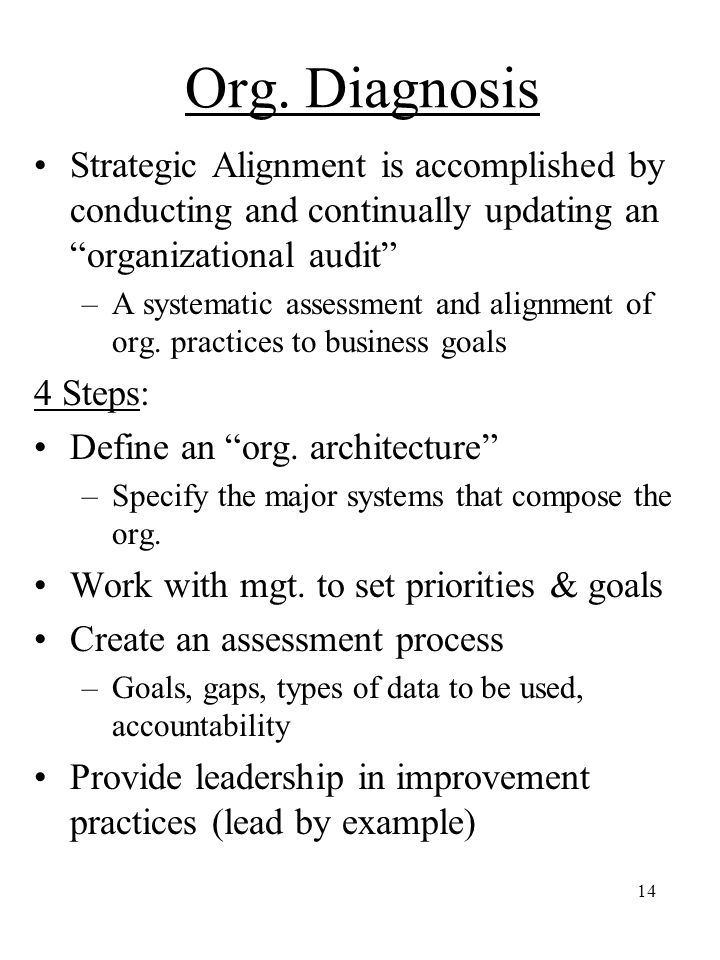 "14 Org. Diagnosis Strategic Alignment is accomplished by conducting and continually updating an ""organizational audit"" –A systematic assessment and al"