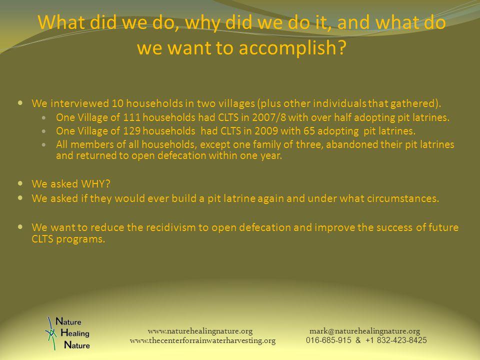 What did we do, why did we do it, and what do we want to accomplish.