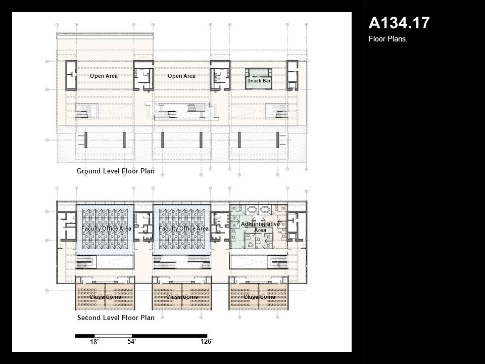 A134.17 Floor Plans. 18' 54'126' Second Level Floor Plan Ground Level Floor Plan Open Area Snack Bar Faculty Office Area Administrative Area Classroom