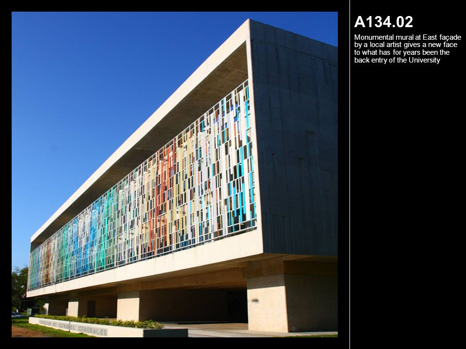 A134.03 Punched openings at north wall recalls sunscreen pattern and allows in breeze and light.