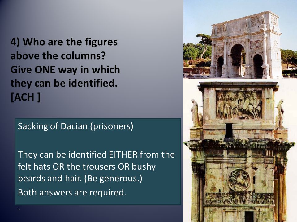 4) Who are the figures above the columns. Give ONE way in which they can be identified.