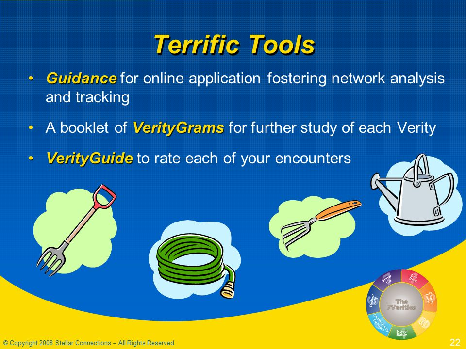 © Copyright 2008 Stellar Connections – All Rights Reserved 22 Terrific Tools GuidanceGuidance for online application fostering network analysis and tracking VerityGramsA booklet of VerityGrams for further study of each Verity VerityGuideVerityGuide to rate each of your encounters