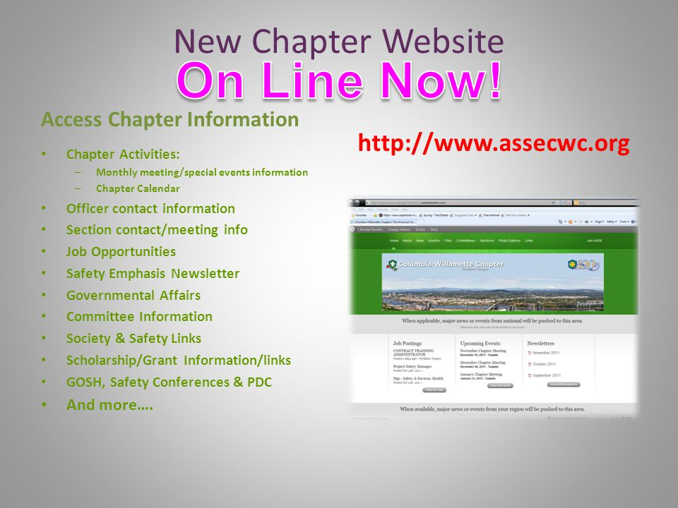 New Chapter Website Access Chapter Information Chapter Activities: – Monthly meeting/special events information – Chapter Calendar Officer contact information Section contact/meeting info Job Opportunities Safety Emphasis Newsletter Governmental Affairs Committee Information Society & Safety Links Scholarship/Grant Information/links GOSH, Safety Conferences & PDC And more….