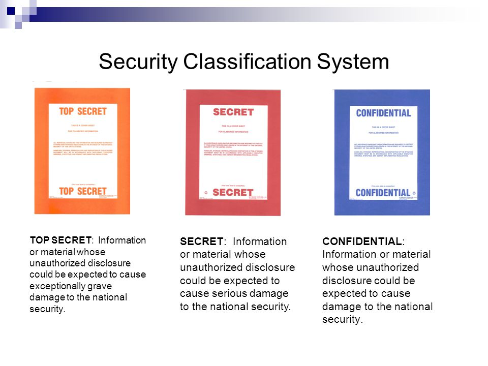 Security Classification System CONFIDENTIAL: Information or material whose unauthorized disclosure could be expected to cause damage to the national security.