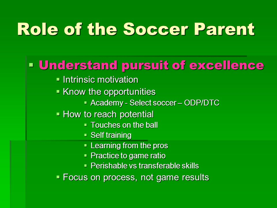 Role of the Soccer Parent  Understand pursuit of excellence  Intrinsic motivation  Know the opportunities  Academy - Select soccer – ODP/DTC  How to reach potential  Touches on the ball  Self training  Learning from the pros  Practice to game ratio  Perishable vs transferable skills  Focus on process, not game results