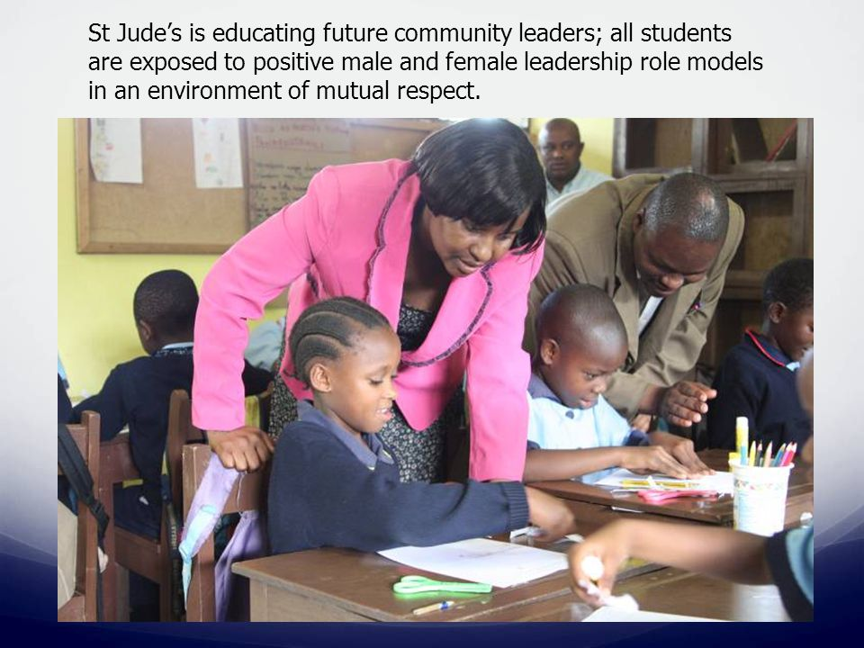 St Jude's is educating future community leaders; all students are exposed to positive male and female leadership role models in an environment of mutu
