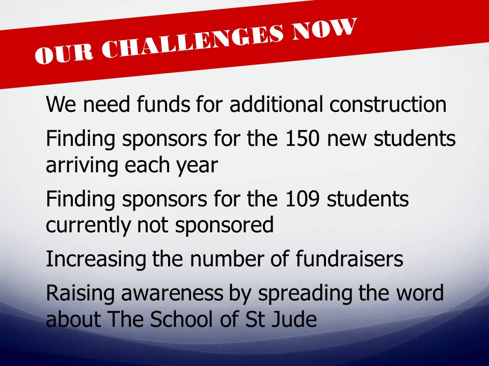 OUR CHALLENGES NOW We need funds for additional construction Finding sponsors for the 150 new students arriving each year Finding sponsors for the 109 students currently not sponsored Increasing the number of fundraisers Raising awareness by spreading the word about The School of St Jude
