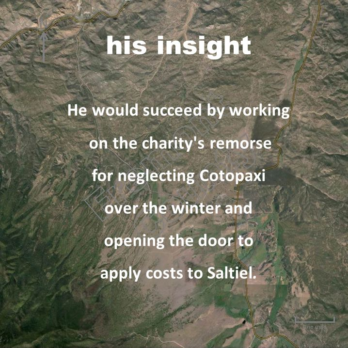 One mile He would succeed by working on the charity's remorse for neglecting Cotopaxi over the winter and opening the door to apply costs to Saltiel.