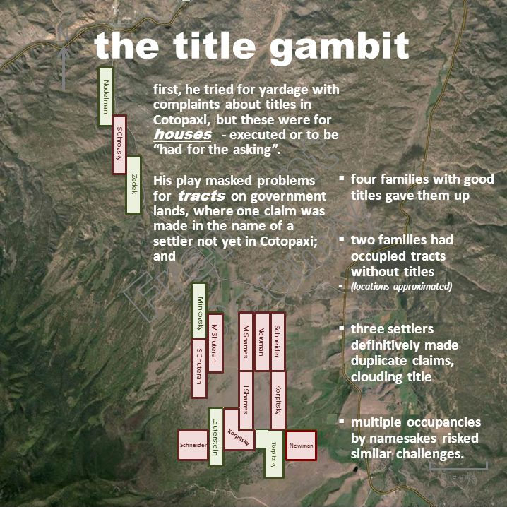 One mile  four families with good titles gave them up  two families had occupied tracts without titles  (locations approximated) first, he tried for yardage with complaints about titles in Cotopaxi, but these were for houses - executed or to be had for the asking .