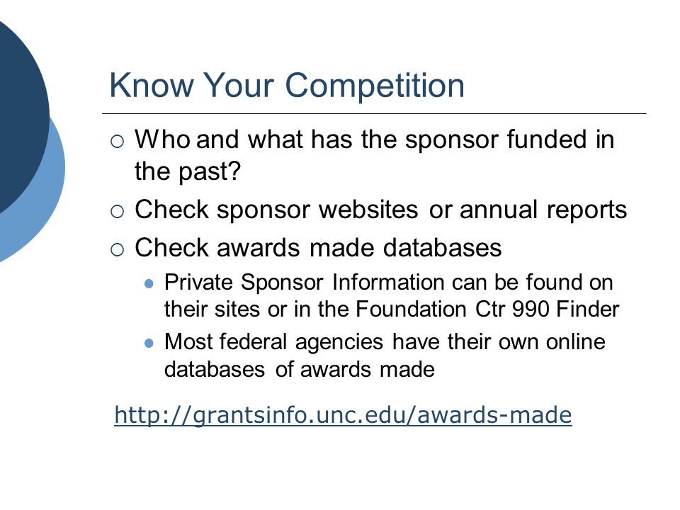 Know Your Competition  Who and what has the sponsor funded in the past?  Check sponsor websites or annual reports  Check awards made databases Priv