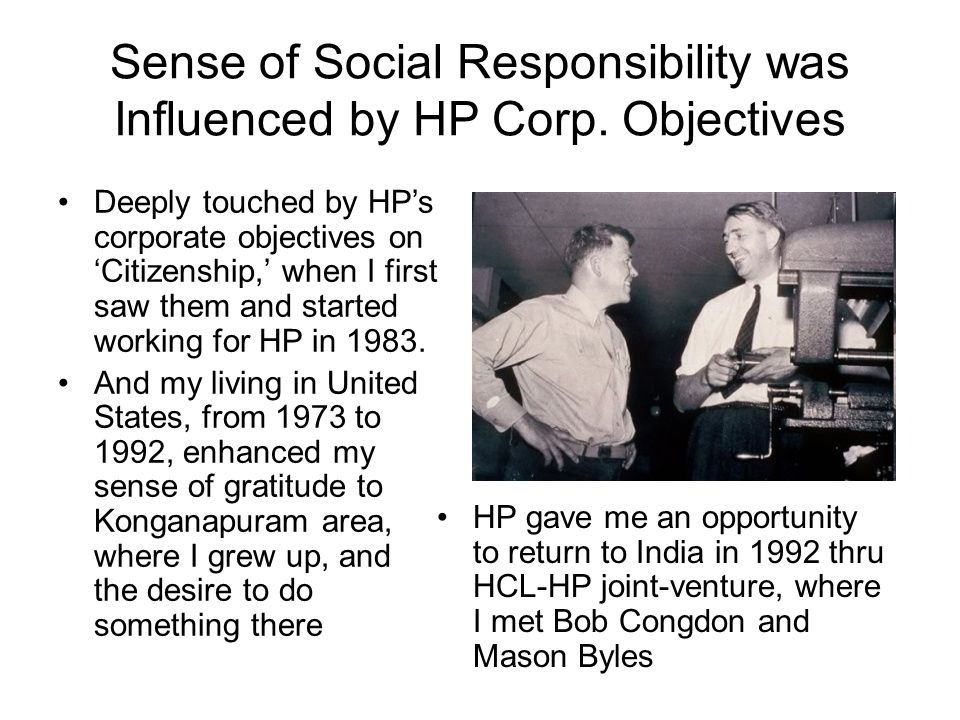 Sense of Social Responsibility was Influenced by HP Corp.