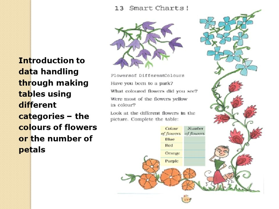 Introduction to data handling through making tables using different categories – the colours of flowers or the number of petals