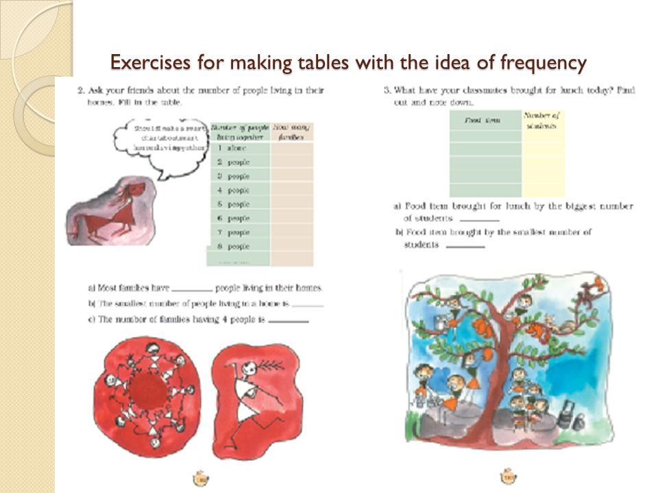 Exercises for making tables with the idea of frequency