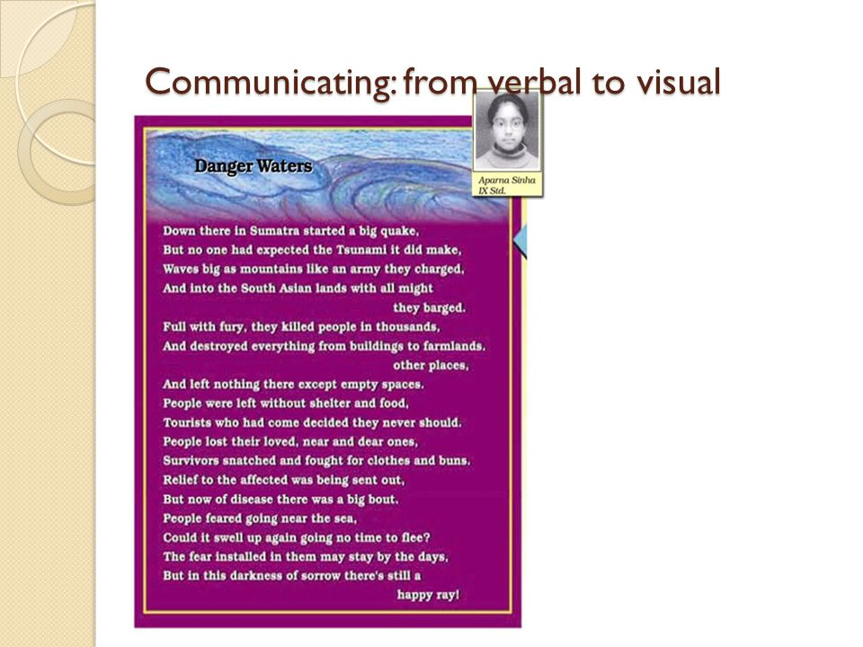 Communicating: from verbal to visual