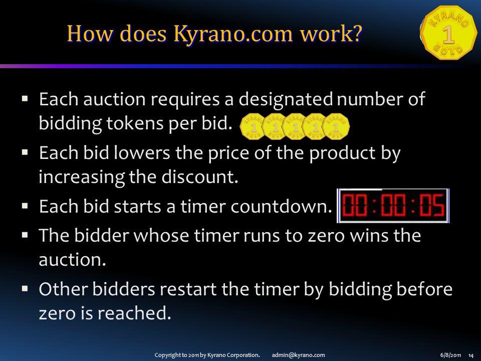 Copyright to 2011 by Kyrano Corporation. admin@kyrano.com6/8/2011 14 How does Kyrano.com work.