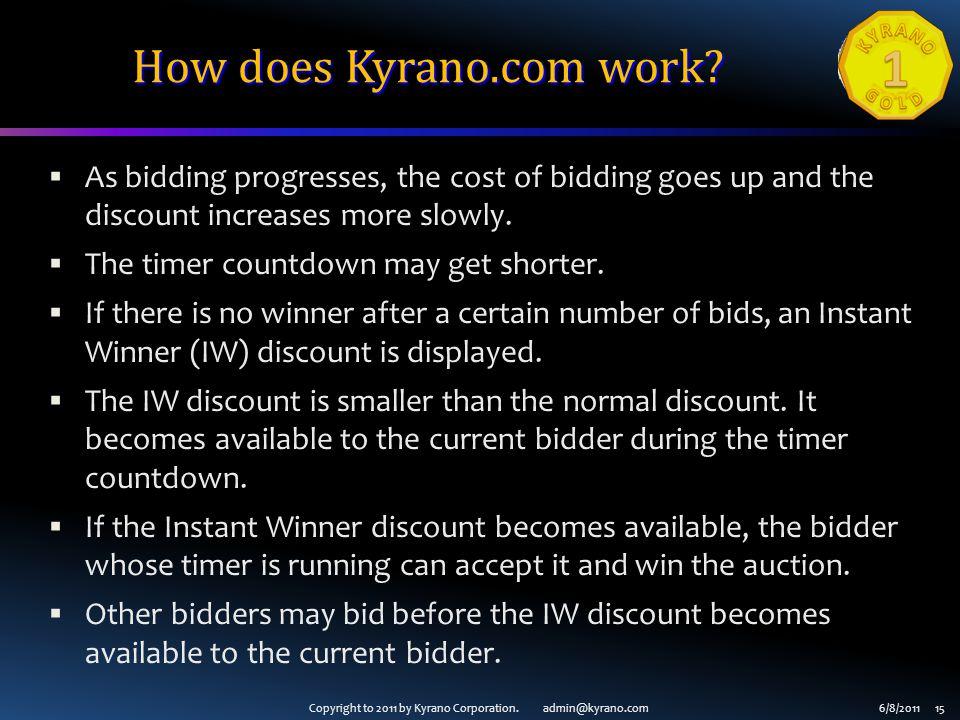 Copyright to 2011 by Kyrano Corporation. admin@kyrano.com6/8/2011 15 How does Kyrano.com work.