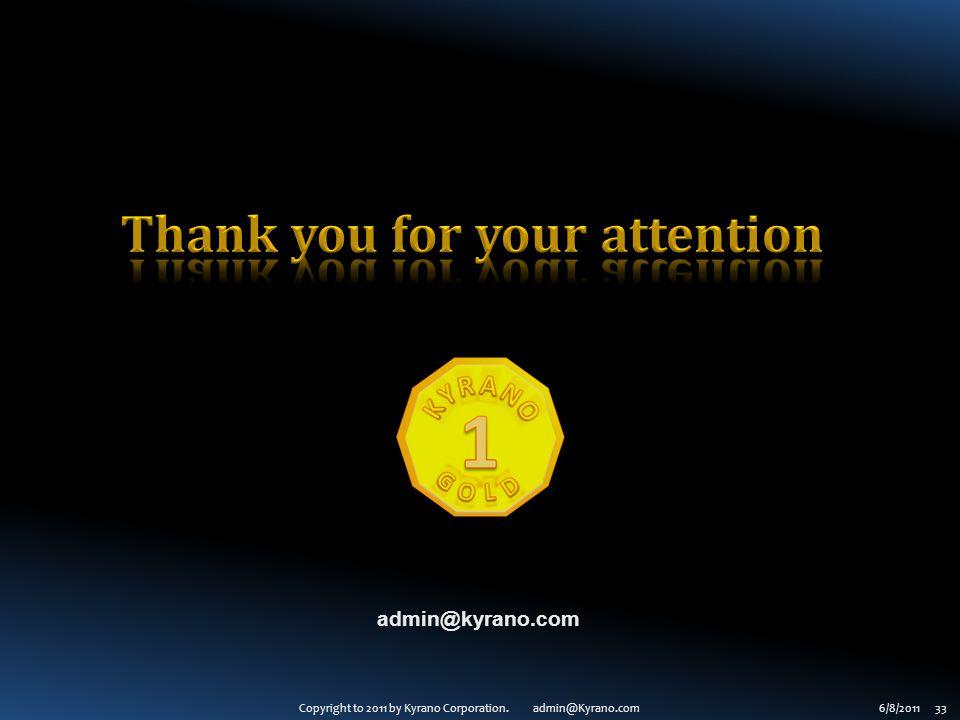 Copyright to 2011 by Kyrano Corporation. admin@Kyrano.com6/8/2011 33 admin@kyrano.com