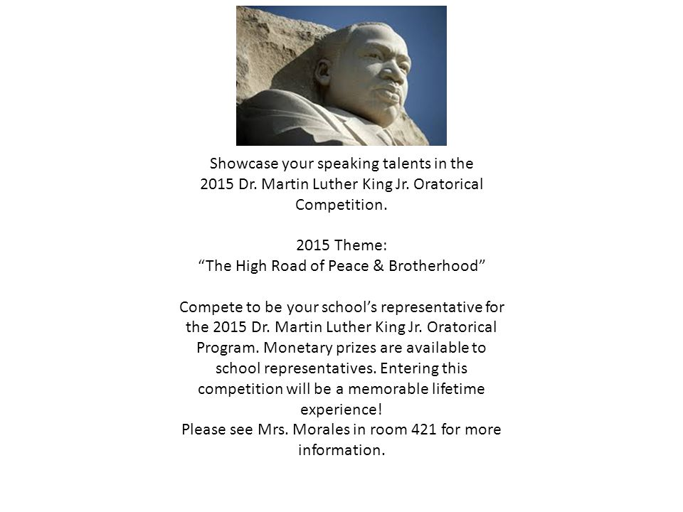 Showcase your speaking talents in the 2015 Dr. Martin Luther King Jr.