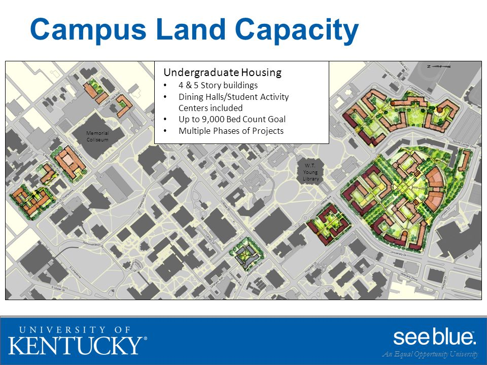 Campus Land Capacity An Equal Opportunity University Undergraduate Housing 4 & 5 Story buildings Dining Halls/Student Activity Centers included Up to 9,000 Bed Count Goal Multiple Phases of Projects W.T.