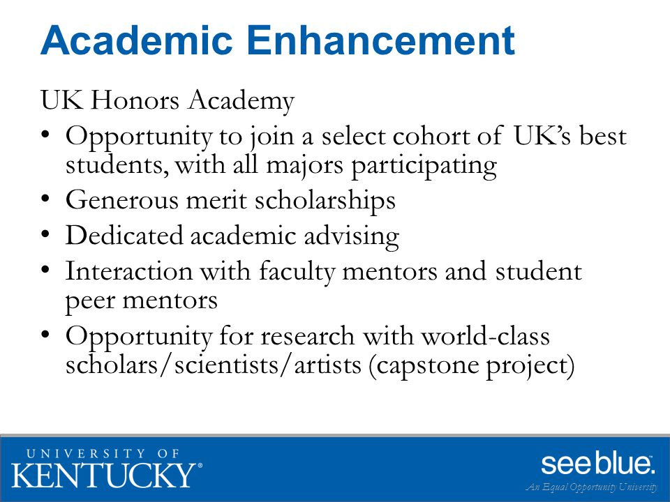 UK Honors Academy Opportunity to join a select cohort of UK's best students, with all majors participating Generous merit scholarships Dedicated academic advising Interaction with faculty mentors and student peer mentors Opportunity for research with world-class scholars/scientists/artists (capstone project) An Equal Opportunity University Academic Enhancement