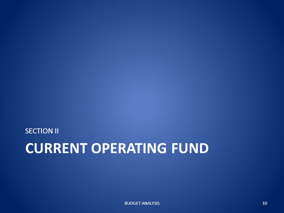CURRENT OPERATING FUND SECTION II BUDGET ANALYSIS10