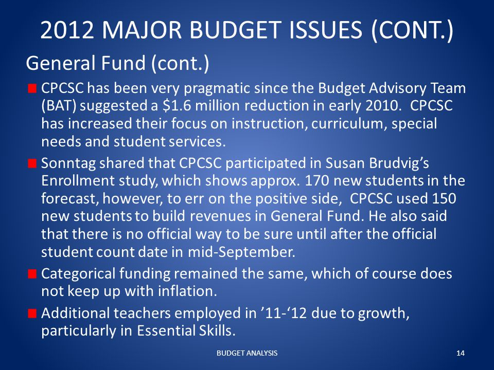 2012 MAJOR BUDGET ISSUES (CONT.) General Fund (cont.) CPCSC has been very pragmatic since the Budget Advisory Team (BAT) suggested a $1.6 million reduction in early 2010.