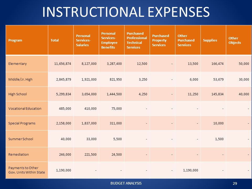 INSTRUCTIONAL EXPENSES ProgramTotal Personal Services- Salaries Personal Services- Employee Benefits Purchased Professional Technical Services Purchased Property Services Other Purchased Services Supplies Other Objects Elementary11,656,8748,127,0003,287,40012,500-13,500166,47450,000 Middle/Jr.
