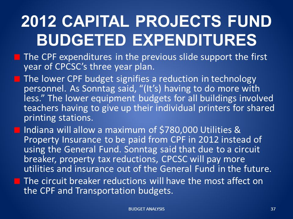 2012 CAPITAL PROJECTS FUND BUDGETED EXPENDITURES The CPF expenditures in the previous slide support the first year of CPCSC's three year plan.
