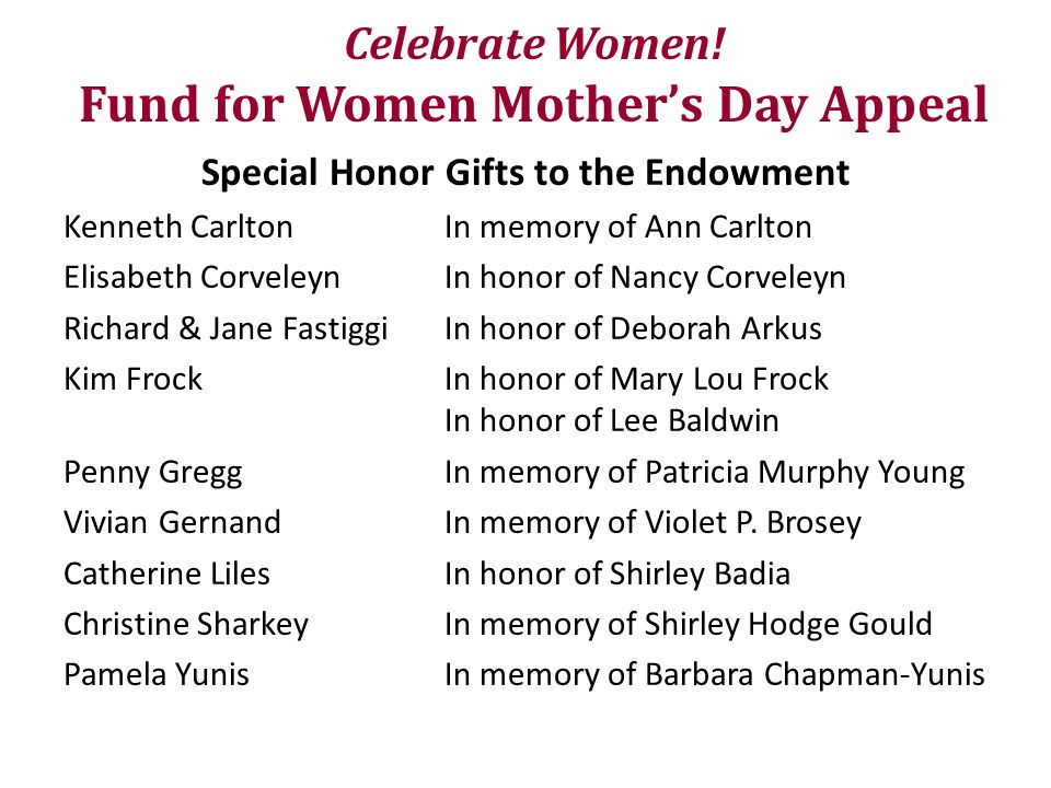 Celebrate Women! Fund for Women Mother's Day Appeal Special Honor Gifts to the Endowment Kenneth CarltonIn memory of Ann Carlton Elisabeth CorveleynIn