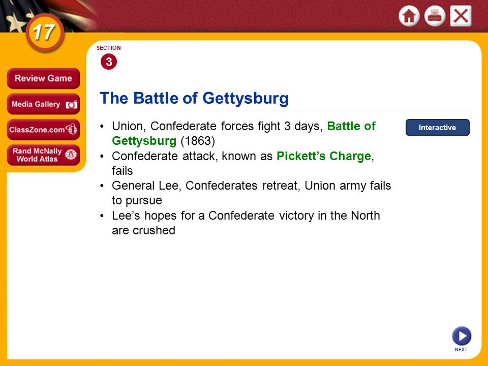 The Battle of Gettysburg NEXT 3 SECTION Union, Confederate forces fight 3 days, Battle of Gettysburg (1863) General Lee, Confederates retreat, Union army fails to pursue Confederate attack, known as Pickett's Charge, fails Lee's hopes for a Confederate victory in the North are crushed Interactive