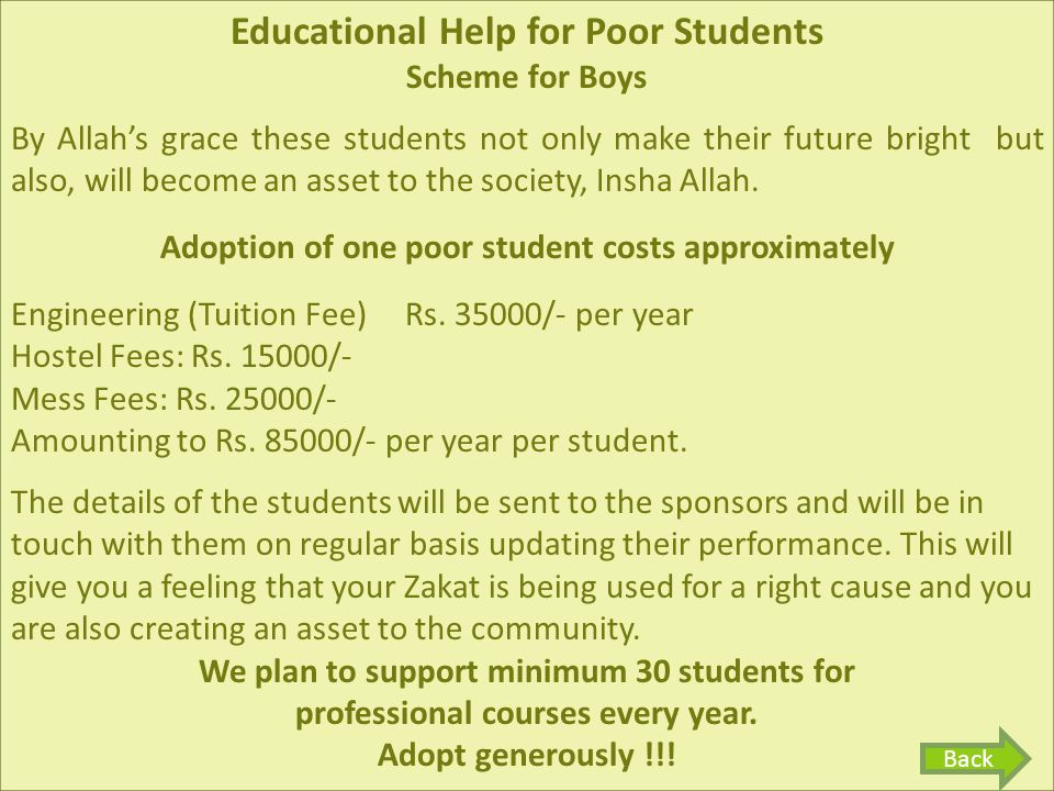 Educational Help for Poor Students Scheme for Boys By Allah's grace these students not only make their future bright but also, will become an asset to the society, Insha Allah.