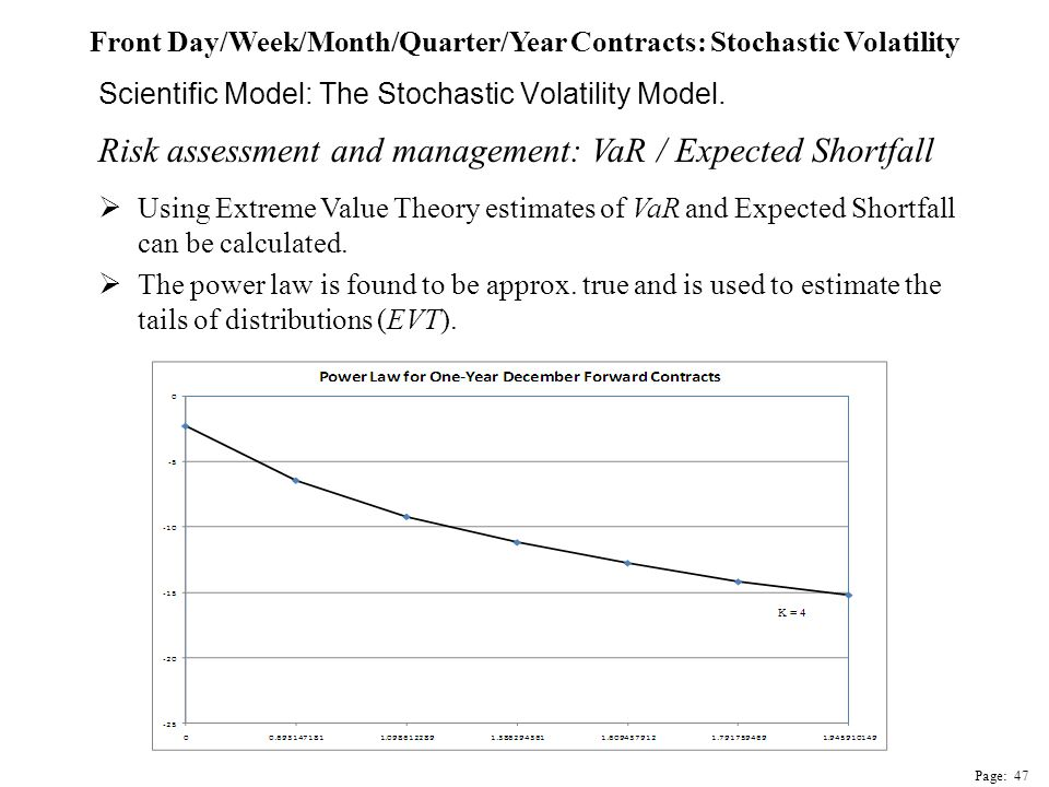 Risk assessment and management: VaR / Expected Shortfall  Using Extreme Value Theory estimates of VaR and Expected Shortfall can be calculated.