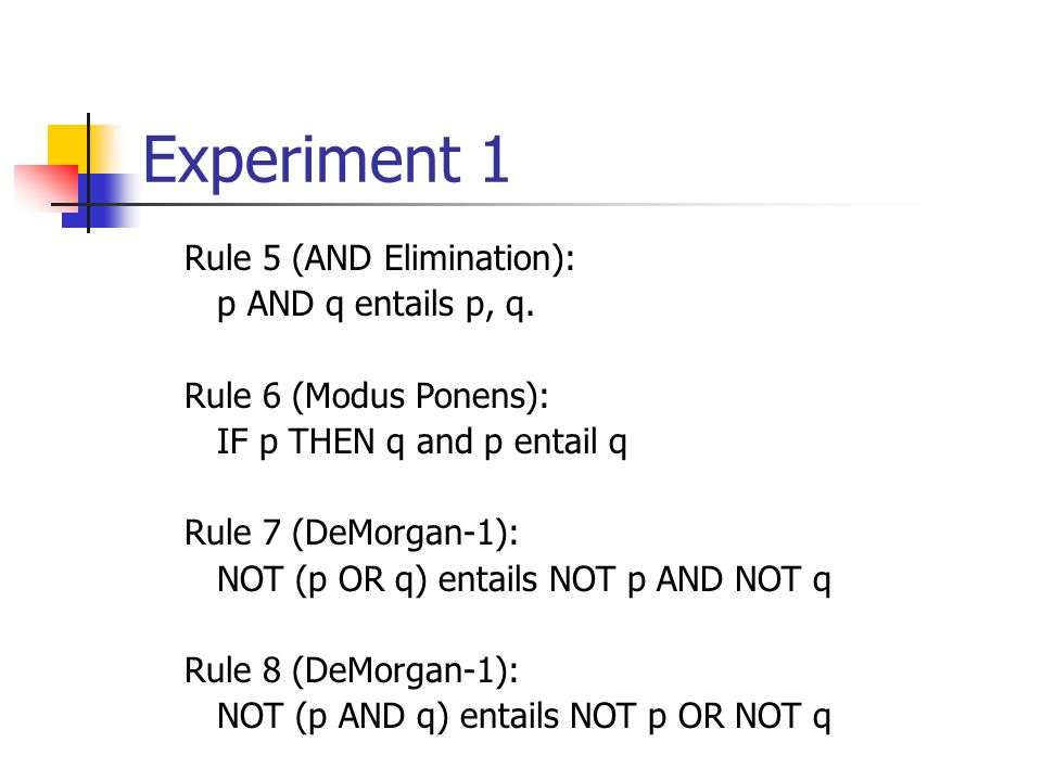 Experiment 1 Rule 5 (AND Elimination): p AND q entails p, q.