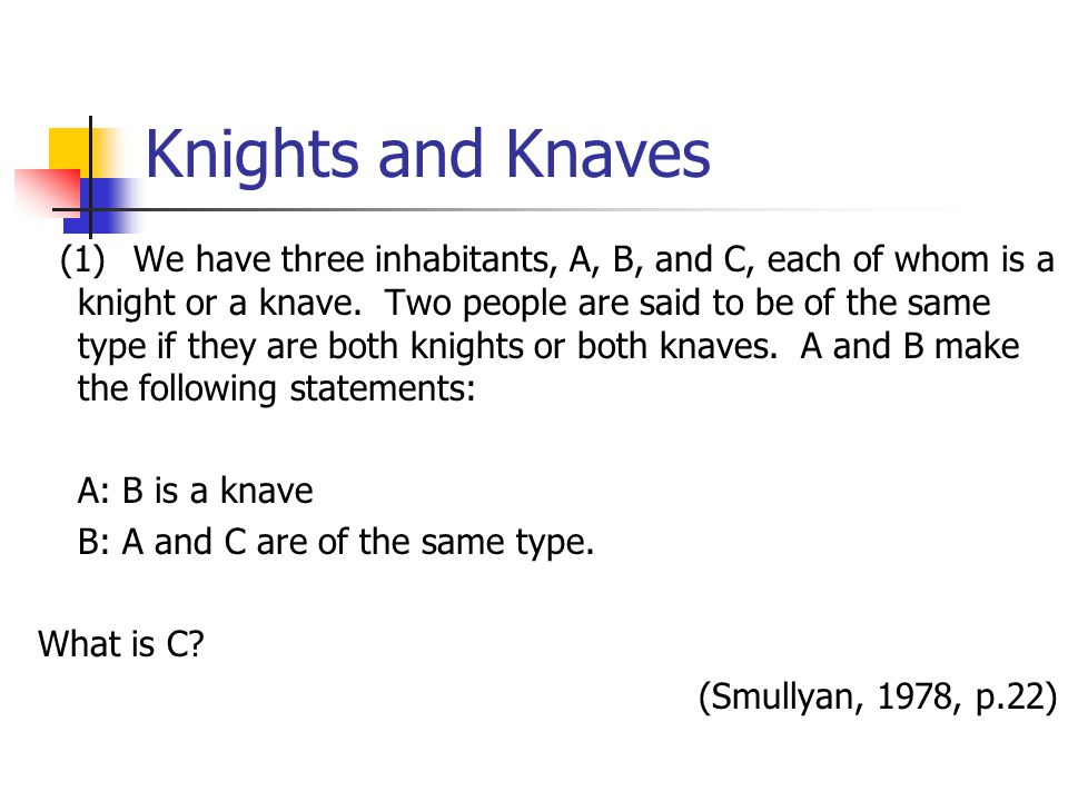 Knights and Knaves (1) We have three inhabitants, A, B, and C, each of whom is a knight or a knave.