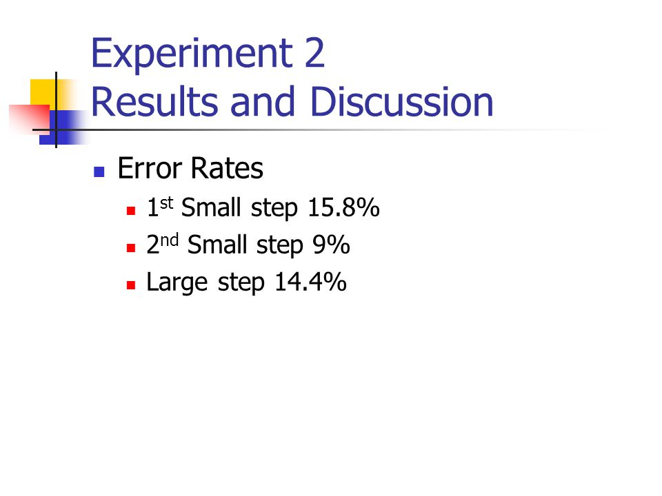 Experiment 2 Results and Discussion Error Rates 1 st Small step 15.8% 2 nd Small step 9% Large step 14.4%