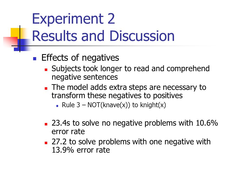 Experiment 2 Results and Discussion Effects of negatives Subjects took longer to read and comprehend negative sentences The model adds extra steps are necessary to transform these negatives to positives Rule 3 – NOT(knave(x)) to knight(x) 23.4s to solve no negative problems with 10.6% error rate 27.2 to solve problems with one negative with 13.9% error rate