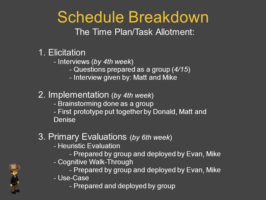 Schedule Breakdown The Time Plan/Task Allotment: 1. Elicitation - Interviews (by 4th week) - Questions prepared as a group (4/15) - Interview given by
