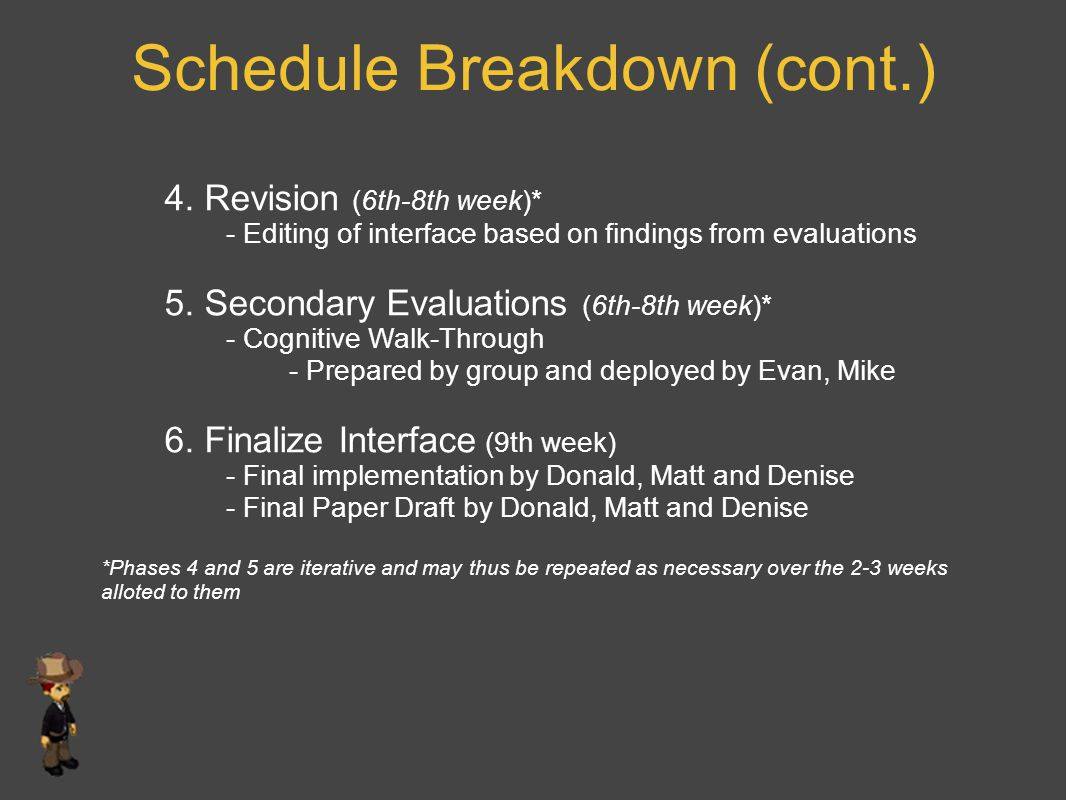 Schedule Breakdown (cont.) 4. Revision (6th-8th week)* - Editing of interface based on findings from evaluations 5. Secondary Evaluations (6th-8th wee