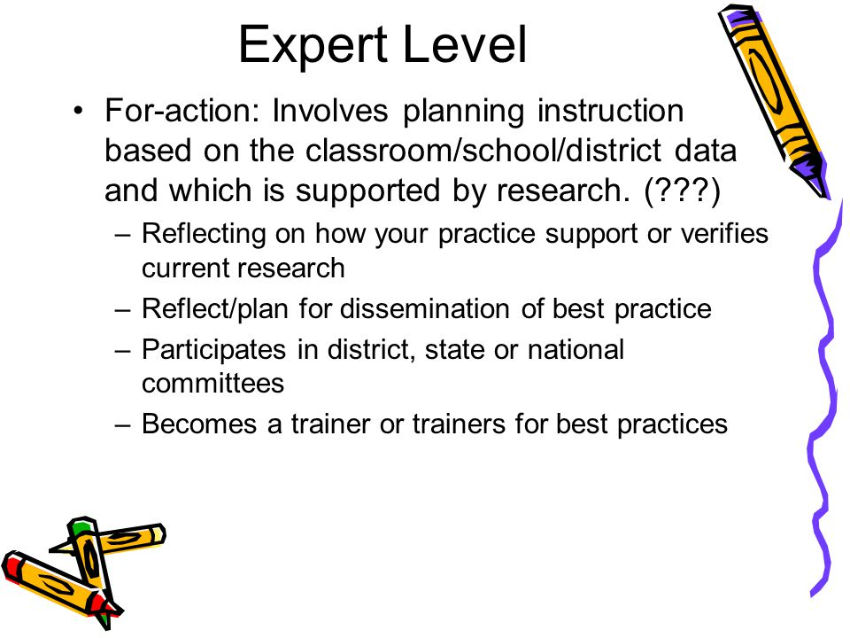 Expert Level For-action: Involves planning instruction based on the classroom/school/district data and which is supported by research.