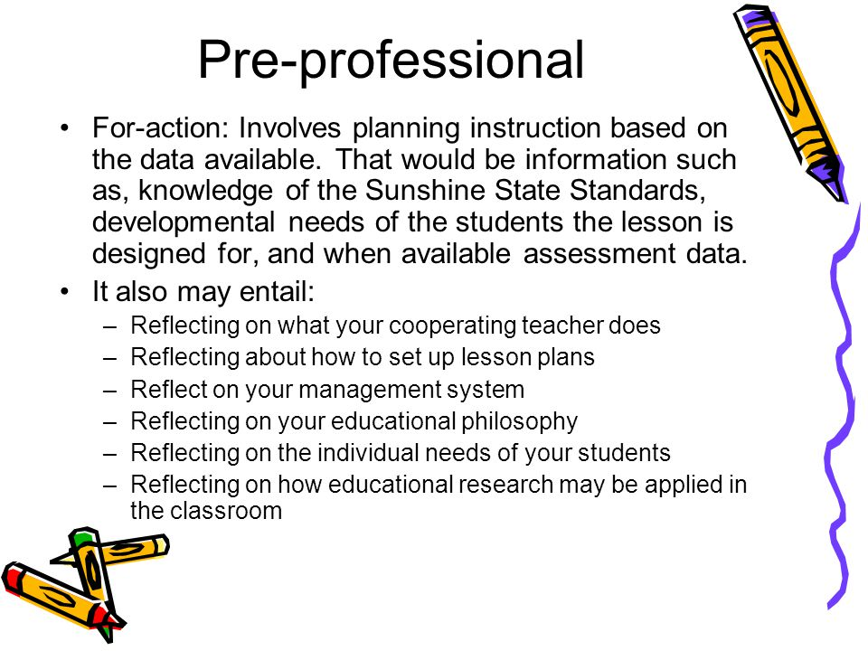 Pre-professional For-action: Involves planning instruction based on the data available.