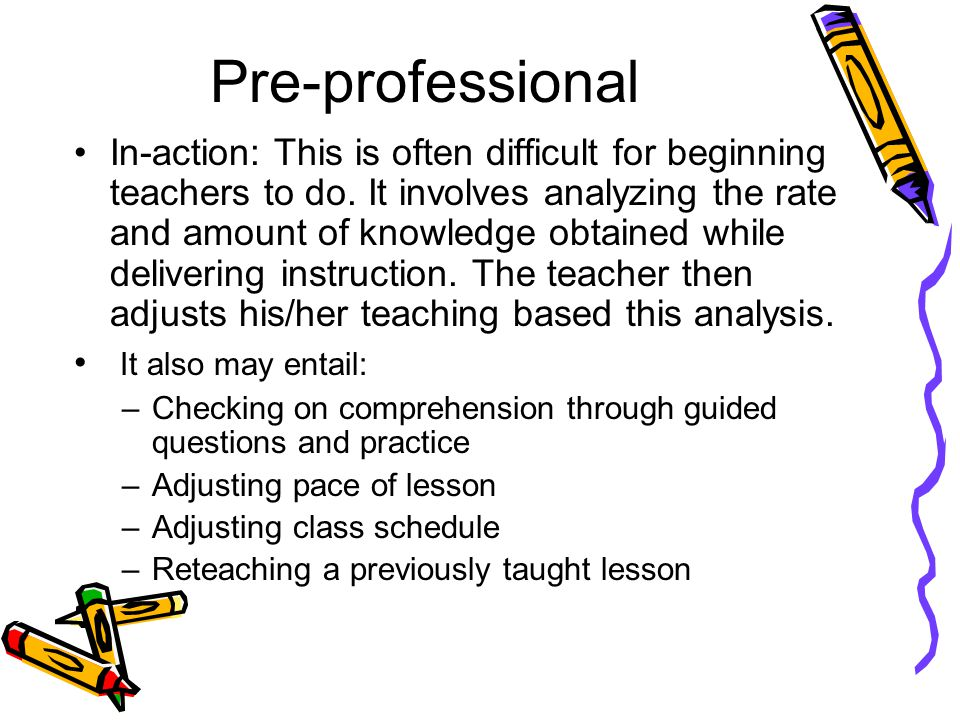 Pre-professional On-action: Involves reflecting on how well the instruction went.
