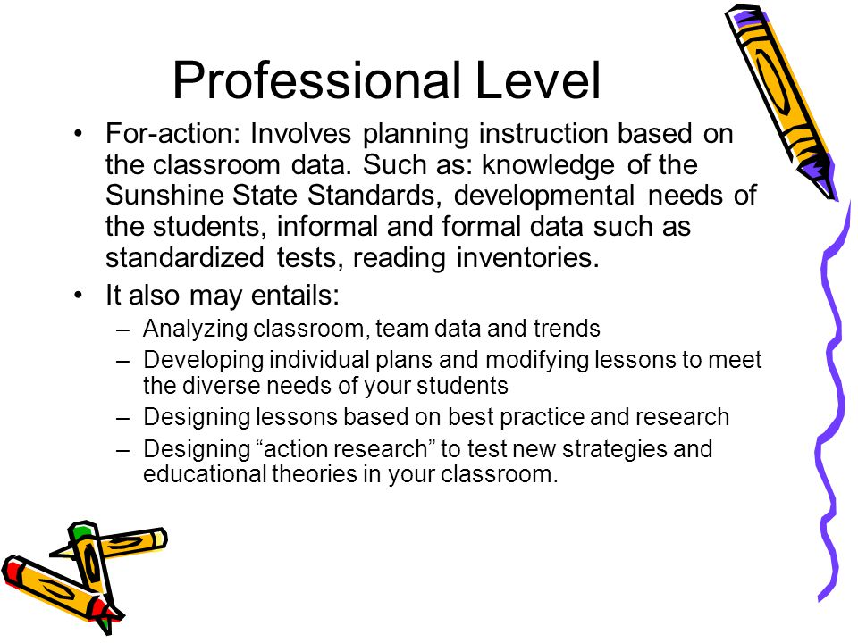 Professional Level For-action: Involves planning instruction based on the classroom data.