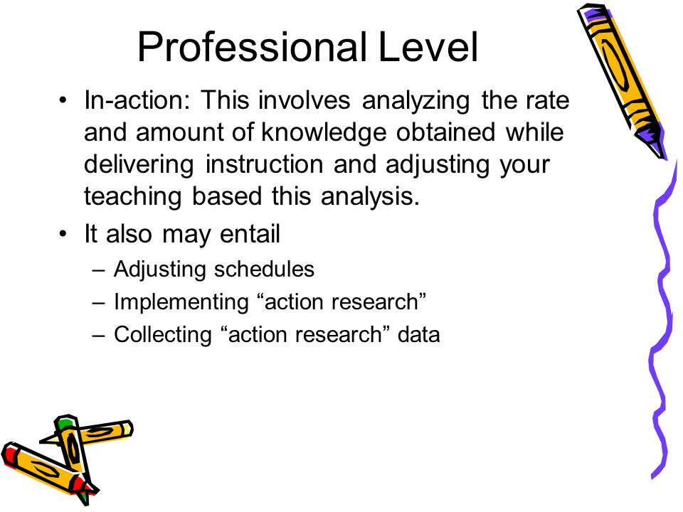 Professional Level In-action: This involves analyzing the rate and amount of knowledge obtained while delivering instruction and adjusting your teaching based this analysis.