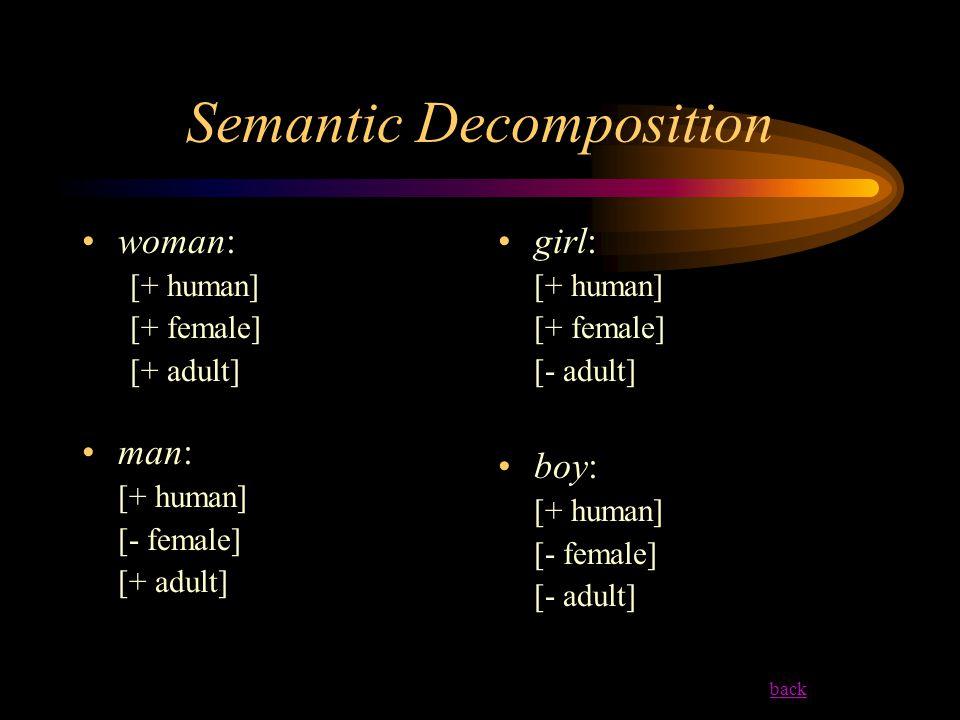 Semantic Decomposition woman: [+ human] [+ female] [+ adult] man: [+ human] [- female] [+ adult] girl: [+ human] [+ female] [- adult] boy: [+ human] [