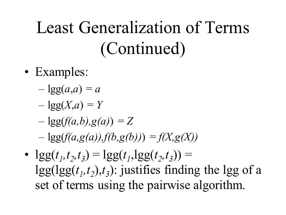 Least Generalization of Literals