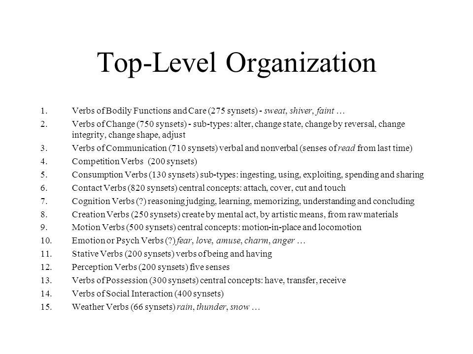 Top-Level Organization 1.Verbs of Bodily Functions and Care (275 synsets) - sweat, shiver, faint … 2.Verbs of Change (750 synsets) - sub-types: alter,