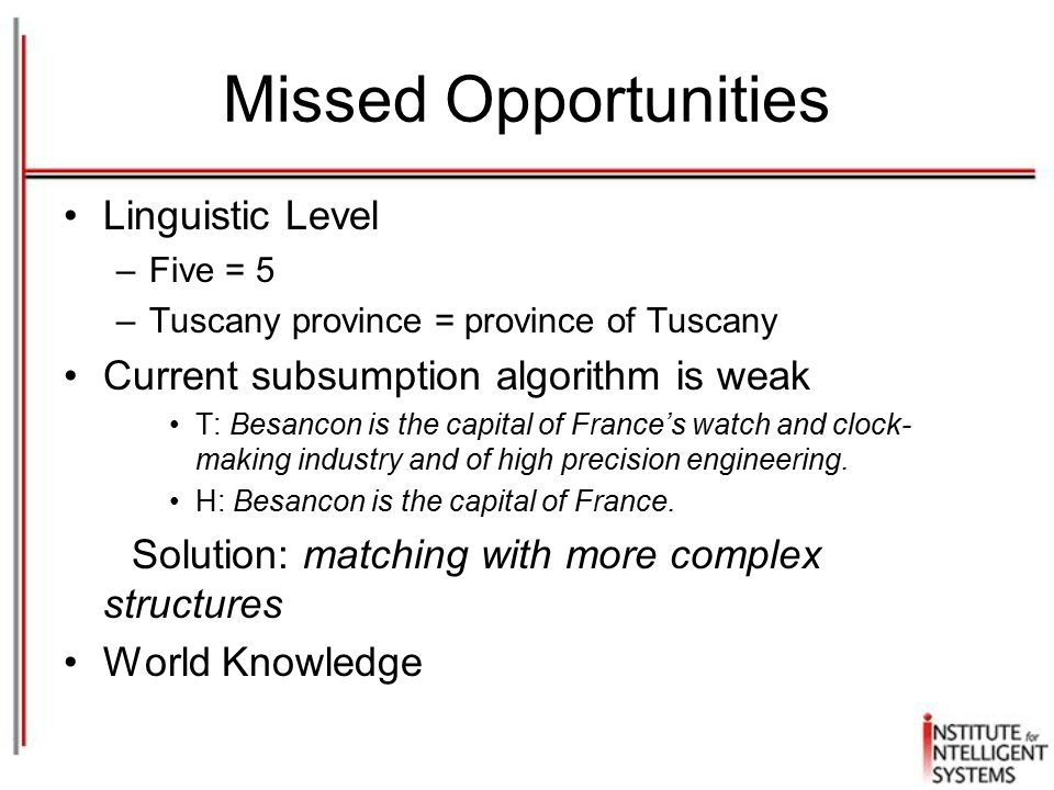 Missed Opportunities Linguistic Level –Five = 5 –Tuscany province = province of Tuscany Current subsumption algorithm is weak T: Besancon is the capital of France's watch and clock- making industry and of high precision engineering.